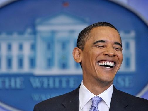 Obama laughs at Press Conference